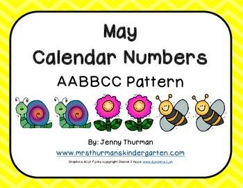 May Calendar Numbers AABBCC Pattern