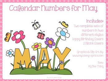 May Calendar Numbers~Calendar Numbers for the Month of May