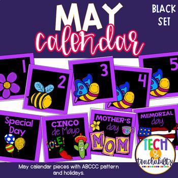 May Calendar Pieces - Black Set