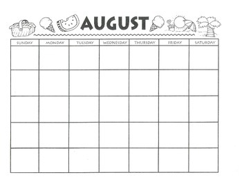 August Calendar and Themed Writing Pages - FREE