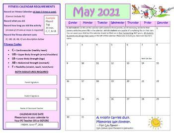 May Fitness Calendar 2017