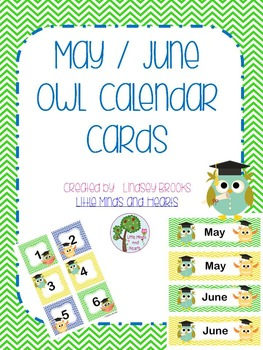 May / June Owl Calendar Cards and Headers (Graduation Theme)