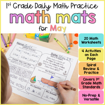 May Math Review Worksheets for First Grade