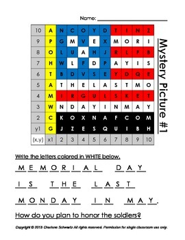 May (May Day and Memorial Day) Mystery Pictures and Hidden