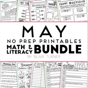 May NO PREP Printables: Math and Literacy BUNDLE