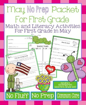 May No Prep Math and Literacy Packet for First Grade (Comm