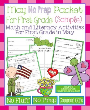 May No Prep Math and Literacy Packet for First Grade Commo