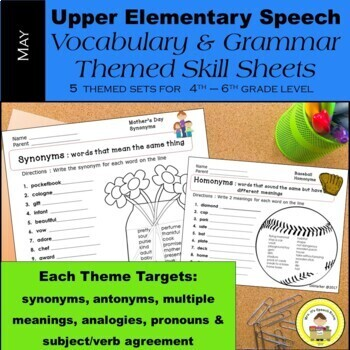 May Speech Therapy Upper Elementary Vocabulary & Grammar T