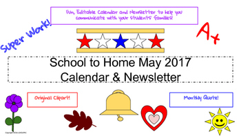May Traditional School Calendar and Newsletter