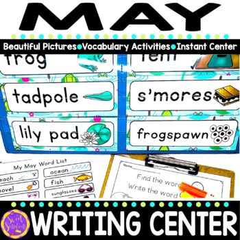 May Vocabulary Words (beach, caterpillars, frogs)
