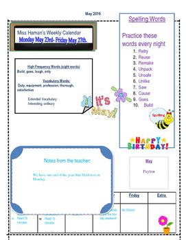 May Weekly Homework Sheet