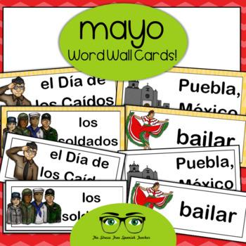 May Word Wall Cards, Spanish version - Cinco de Mayo, Dia