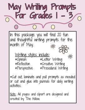 May Writing Prompts Grades 1, 2, 3