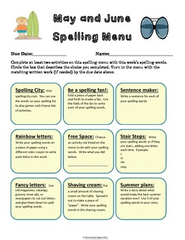 May and June Spelling Menu - 9 ways for students to learn