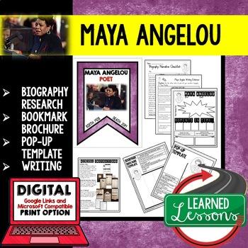 Maya Angelou Biography Research, Bookmark, Pop-Up, Writing