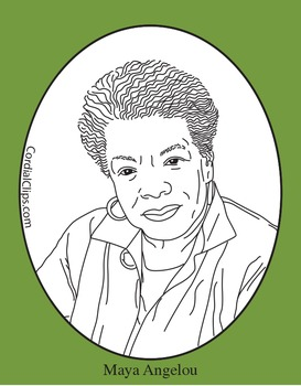 Maya Angelou Clip Art, Coloring Page or Mini Poster