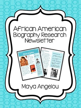 Maya Angelou Newsletter, Research, Black History Month