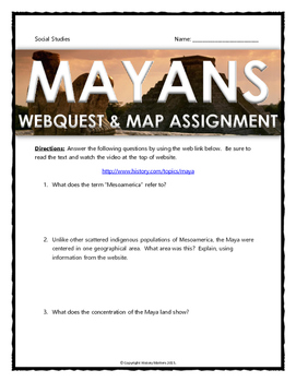 Mayan - Webquest and Map Assignment with Key (History.com)