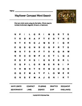 Mayflower Compact Word Search (Grades 4-5)
