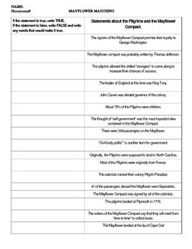 Mayflower - True/False Sentences