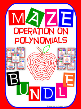 Maze - BUNDLE Operations on Polynomials (10 Mazes = 138 Qu