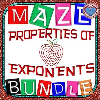 Maze - BUNDLE Properties of Exponents (8 Mazes)