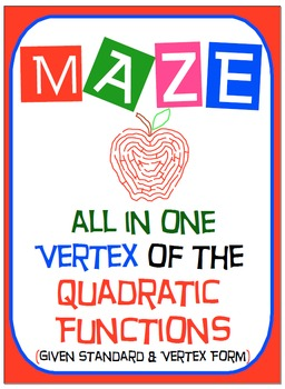 Maze - Quadratic Functions - Find the Vertex (Given the Ve