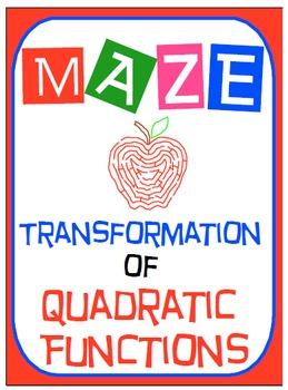 "Maze - Quadratic Functions - Writing QF in ""Vertex Form"" f"