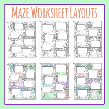 Maze Worksheet Layouts / Templates Clip Art Set for Commer
