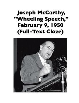 "McCarthyism: Joseph McCarthy, ""Wheeling Speech,"" 1950 (Ful"