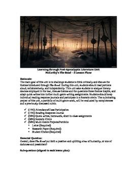 """McCarthy's """"The Road"""" Unit -  5 Lesson Plan Bundle"""