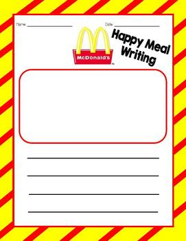 McDonald's Happy Meal Writing Center (with parent donation