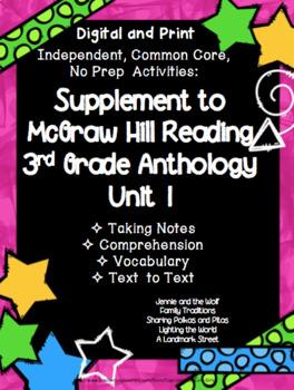 McGraw Hill Wonders 3rd Gr. Anthology Unit 1 No Prep, Note