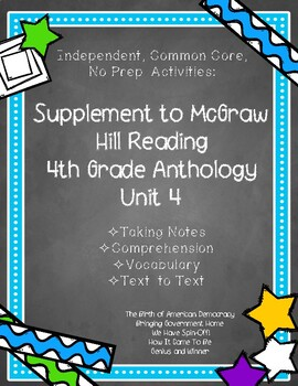 McGraw Hill 4th Gr. Anthology Unit 4 No Prep, Note Taking