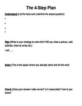 McGraw Hill My Math 4-step plan template