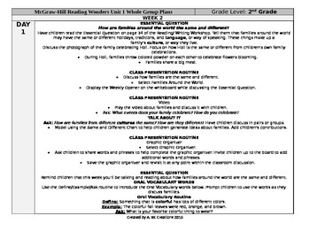 Reading Wonders 2nd Grade UNIT 1 WEEK 2 Whole Group Plans