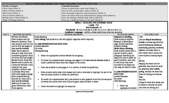 Reading Wonders 4th Grade UNIT 1 On Level Small Group Plans