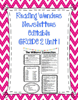 McGraw-Hill Reading Wonders EDITABLE 2nd grade Weekly News
