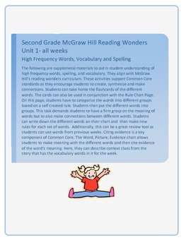 McGraw Hill Reading Wonders Grade 2, High Frequency Words