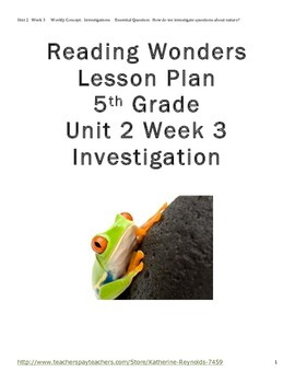 McGraw Hill Reading Wonders Grade 5 Unit 2 Week 3 Lesson P
