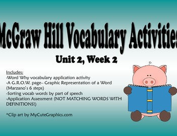 McGraw Hill Reading Wonders Unit 2, Week 2 Vocabulary Pack