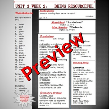 Unit 3 Week 2 Skills Guide Fifth Grade based on McGraw Hil