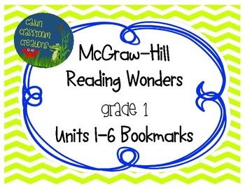 McGraw-Hill Reading Wonders Units 1-6 Bookmarks