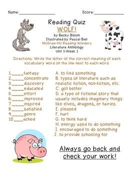 3rd Grade McGraw-Hill Reading Wonders Vocab & Story Quiz f