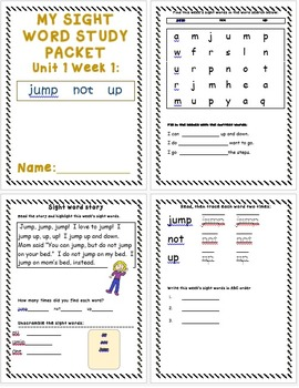First Grade-Unit 1 and 2 Sight Word Study Packets/McGraw H