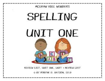McGraw Hill WONDERS Spelling Unit 1 (3rd Grade)