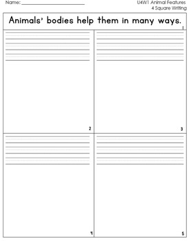 McGraw Hill Wonders 1st Grade  4square Writing templates Unit 4