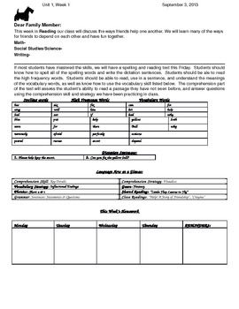 McGraw Hill Wonders 2nd Grade Unit 1 Weekly Newsletters