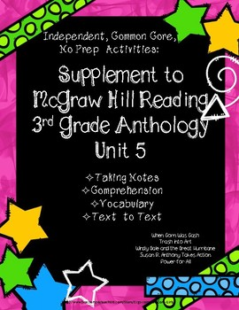 McGraw Hill Wonders 3rd Gr. Anthology Unit 5 No Prep Note