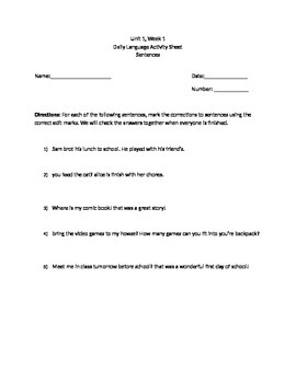 McGraw Hill Wonders 4th Grade Weekly Daily Language Sheets